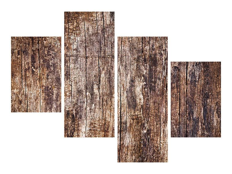 Metallic-Bild 4-teilig modern Retro-Holz