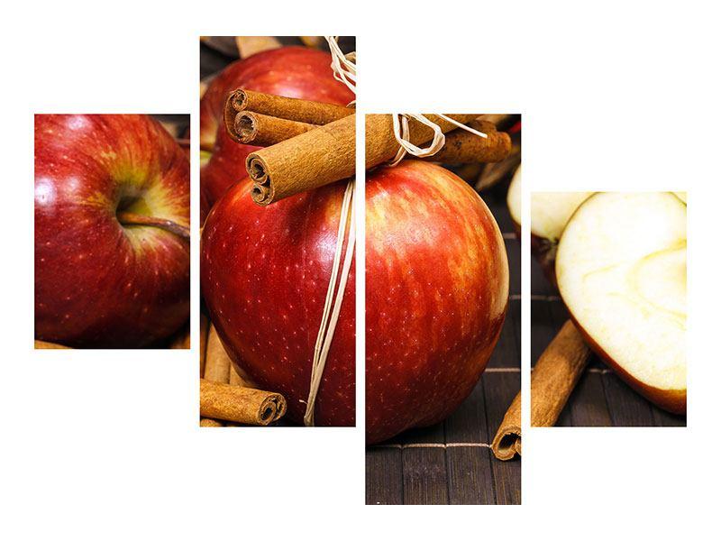 Metallic-Bild 4-teilig modern Äpfel
