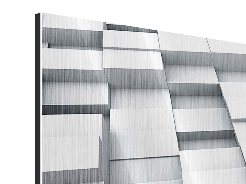 Metallic-Bild 4-teilig modern 3D-Kubus