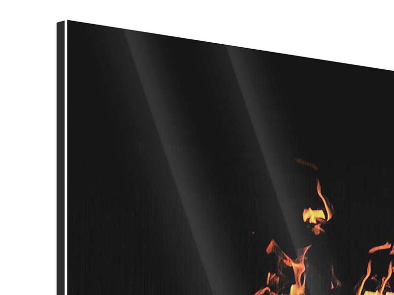 Metallic-Bild 4-teilig modern Moderne Feuerwand