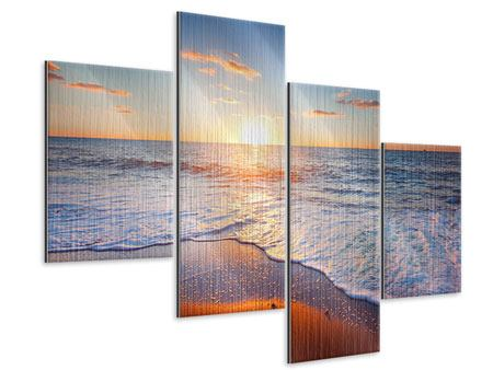 Metallic-Bild 4-teilig modern Sonnenuntergang am Horizont