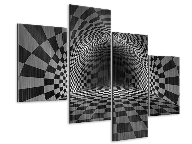 Metallic-Bild 4-teilig modern Abstraktes Schachbrett