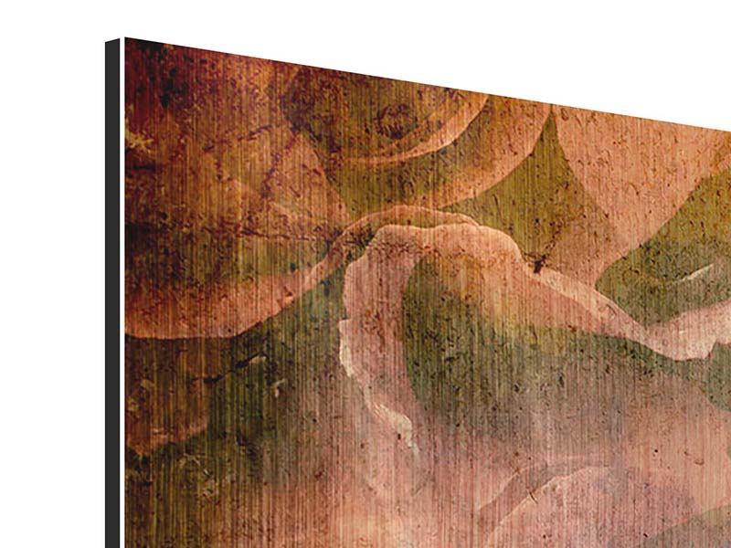 Metallic-Bild 4-teilig modern Rosenbukett