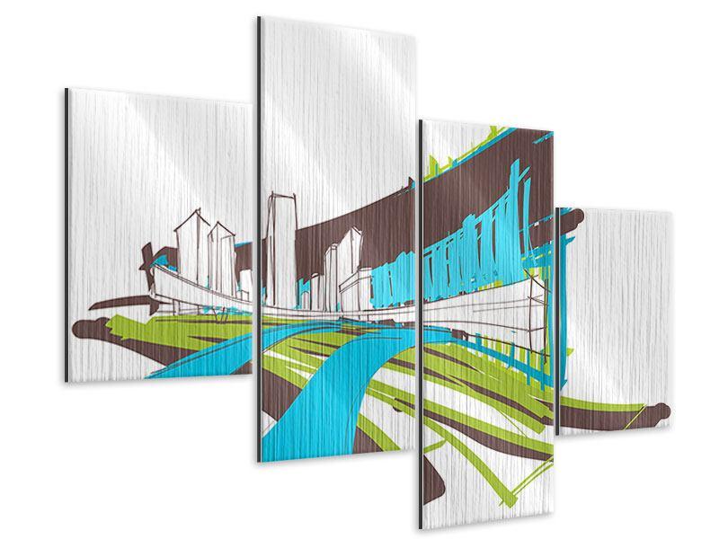 Metallic-Bild 4-teilig modern Graffiti Street-Art