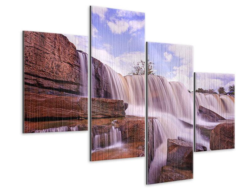 Metallic-Bild 4-teilig modern Himmlischer Wasserfall