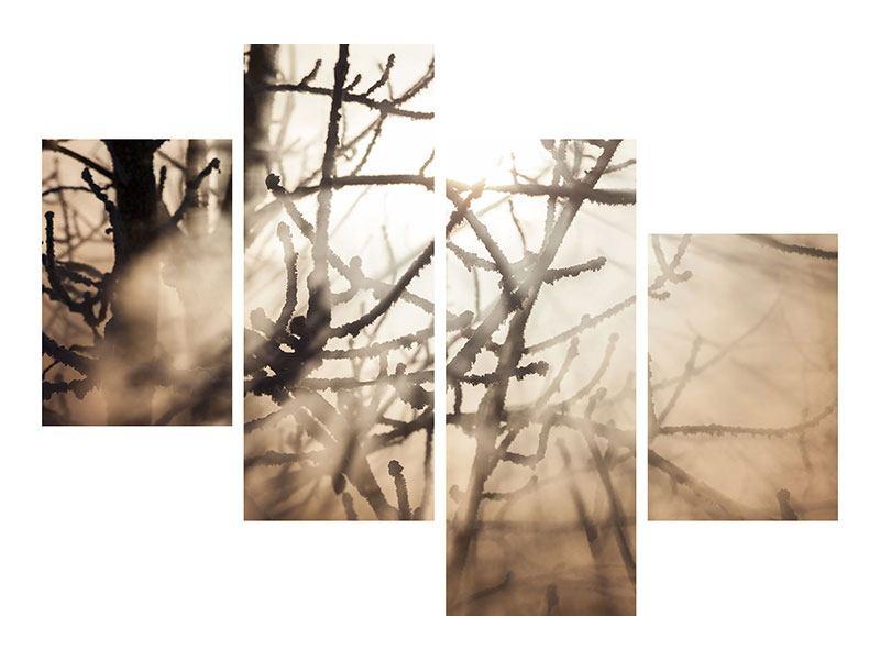 Metallic-Bild 4-teilig modern Äste im Schleierlicht