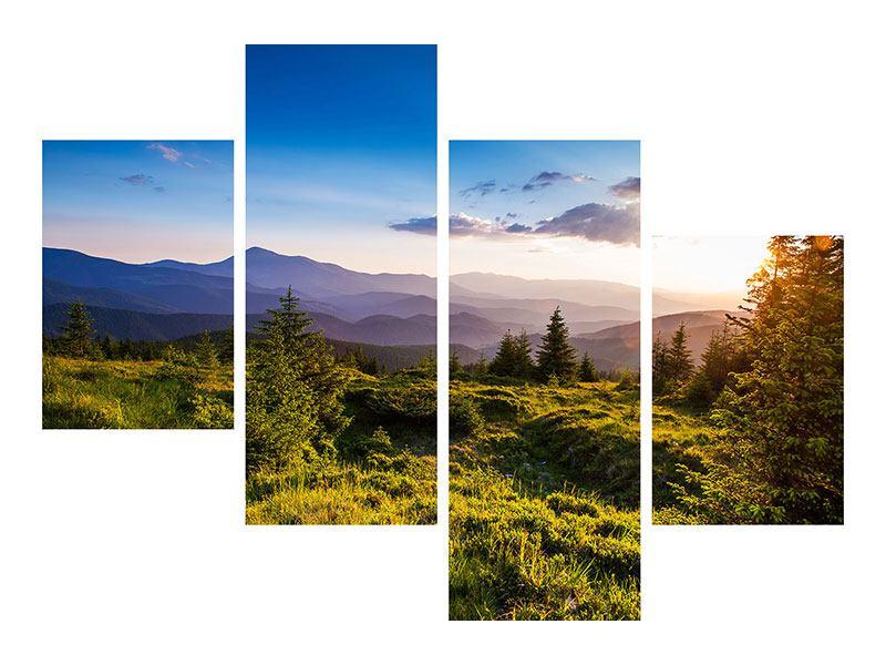 Metallic-Bild 4-teilig modern Friedliche Landschaft