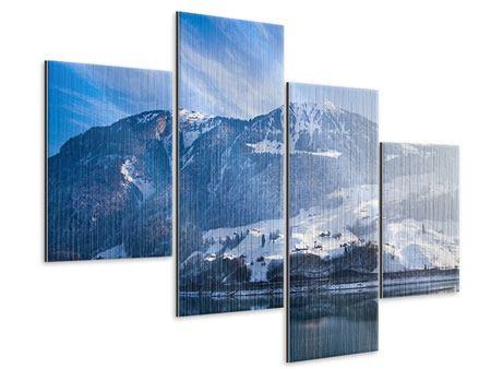 Metallic-Bild 4-teilig modern Winterwunderland