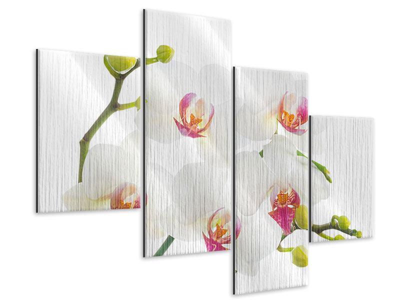 Metallic-Bild 4-teilig modern Orchideenliebe