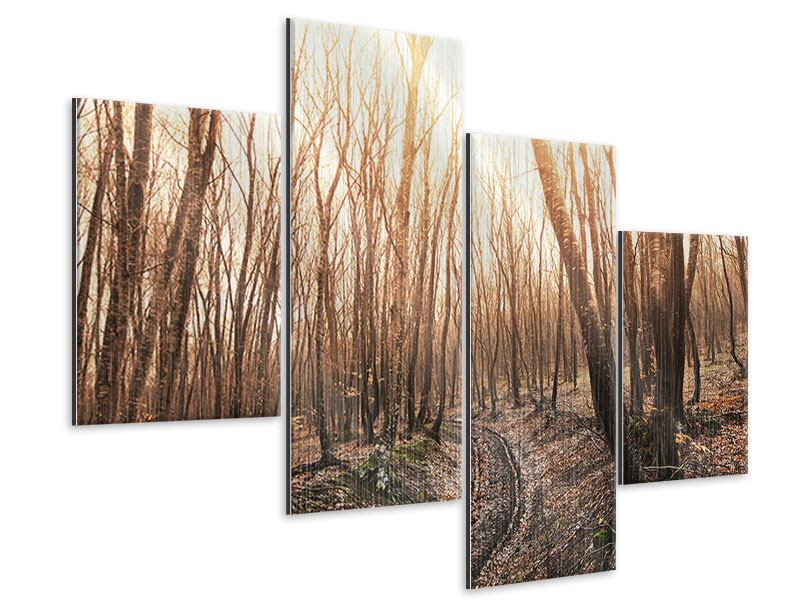 Metallic-Bild 4-teilig modern Der kahle Wald