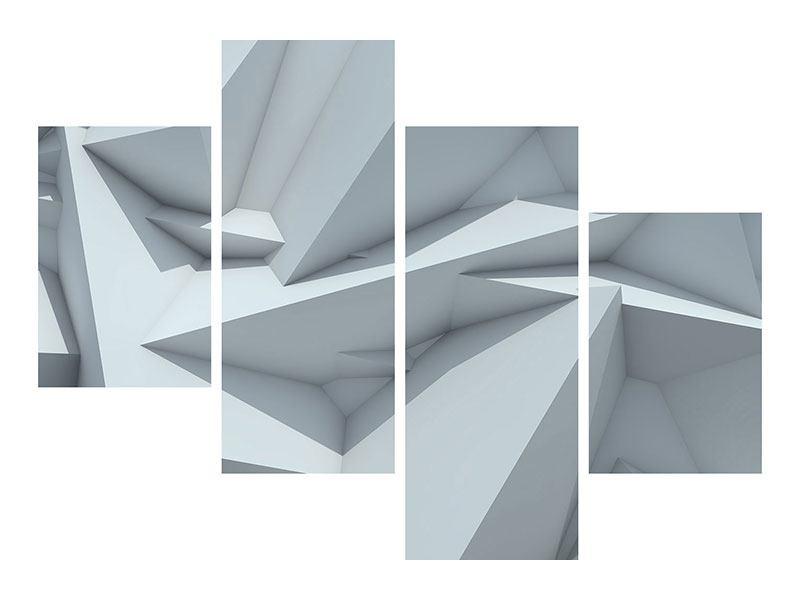 Metallic-Bild 4-teilig modern 3D-Kristallo