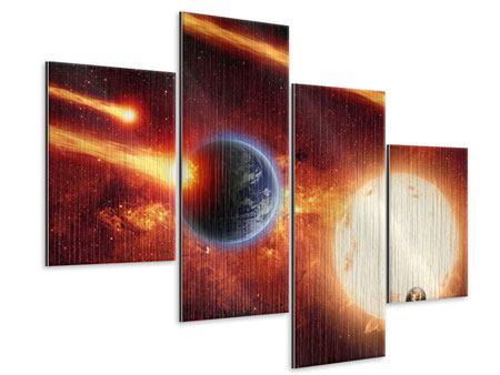 Metallic-Bild 4-teilig modern Der Kosmos
