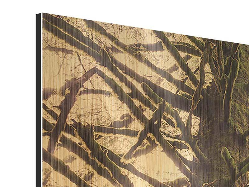 Metallic-Bild 4-teilig modern Sonnenuntergang im Dschungel