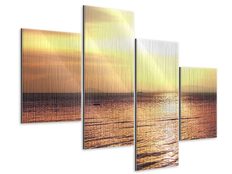 Metallic-Bild 4-teilig modern Sonnenuntergang an der See