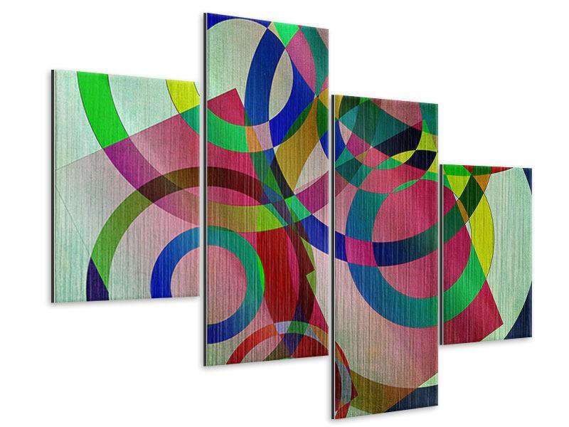Metallic-Bild 4-teilig modern Wandkunst