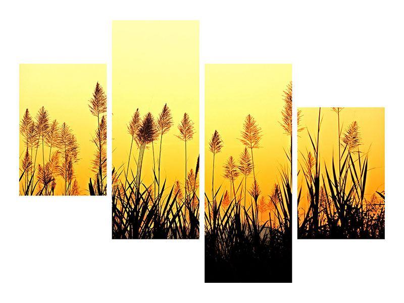 Metallic-Bild 4-teilig modern Die Blumen des Feldes