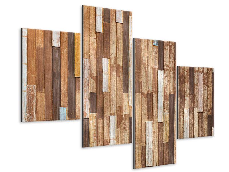Metallic-Bild 4-teilig modern Designholz