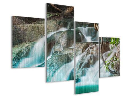 Metallic-Bild 4-teilig modern Am Fluss des Lebens