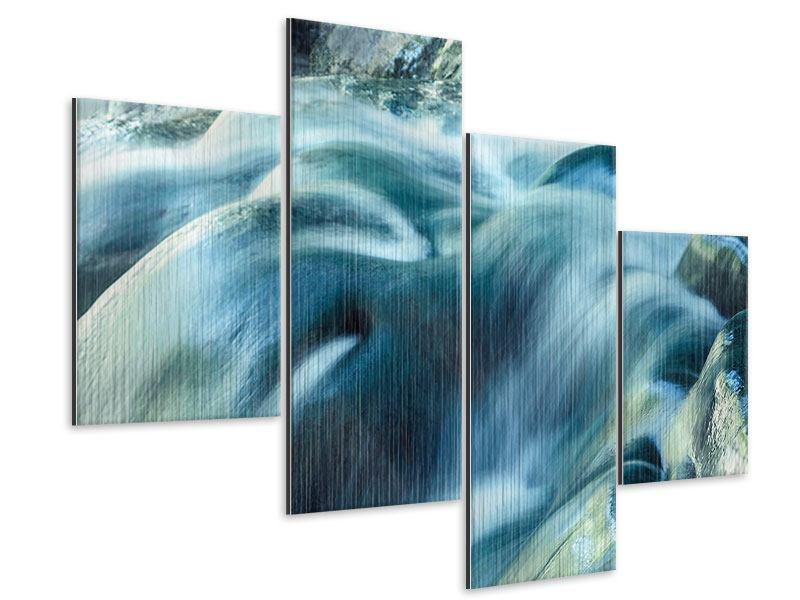 Metallic-Bild 4-teilig modern Das Fliessende Wasser