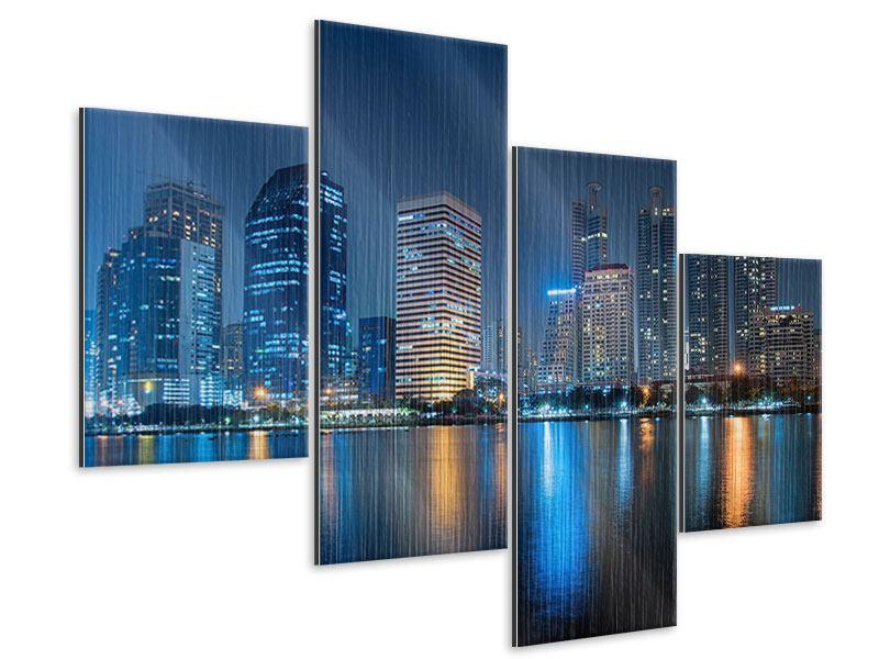 Metallic-Bild 4-teilig modern Skyline Bangkok bei Nacht