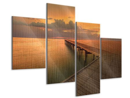 Metallic-Bild 4-teilig modern Der Steg am Meer