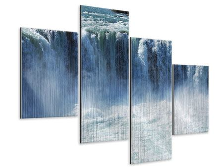 Metallic-Bild 4-teilig modern Mächtiger Wasserfall