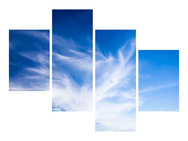 Metallic-Bild 4-teilig modern Schleierwolken