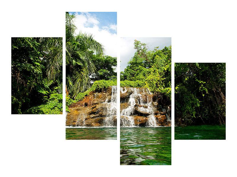 Metallic-Bild 4-teilig modern Lagune