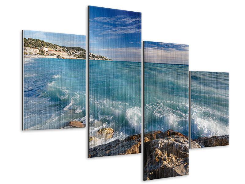 Metallic-Bild 4-teilig modern Cote D`Azur