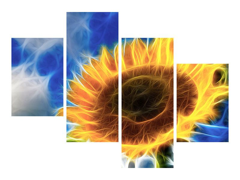 Metallic-Bild 4-teilig modern Der Sonne entgegen