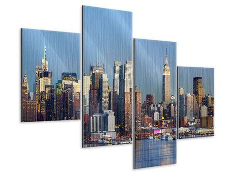 Metallic-Bild 4-teilig modern Skyline Midtown Manhattan