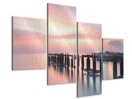 Metallic-Bild 4-teilig modern Der beruhigende Sonnenuntergang