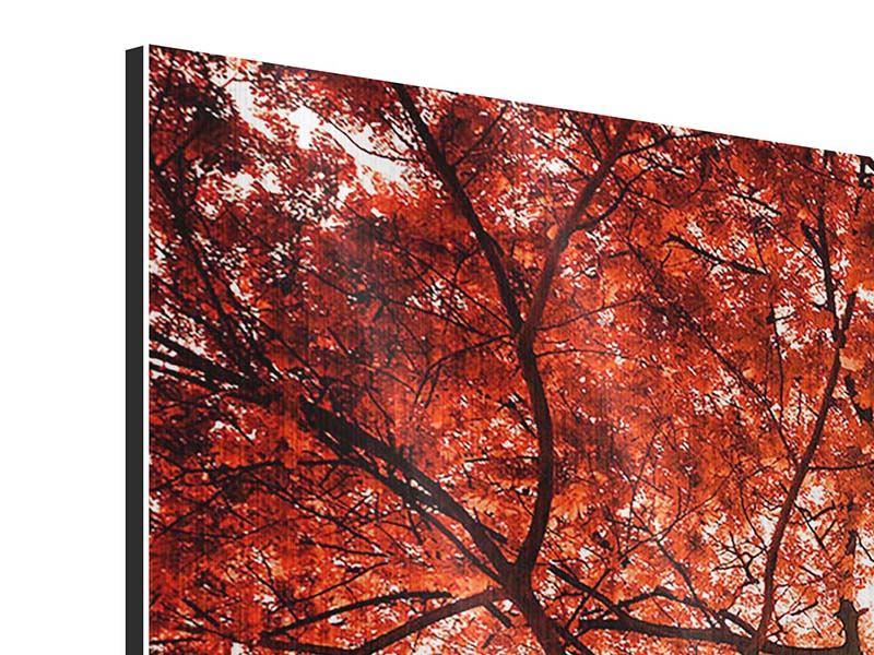 Metallic-Bild 4-teilig modern Herbstlicht