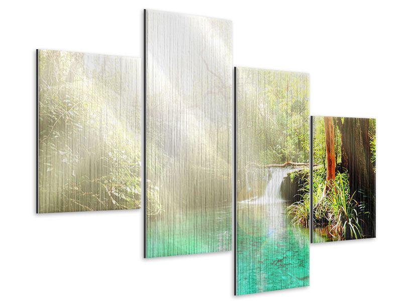 Metallic-Bild 4-teilig modern Die grüne Lagune