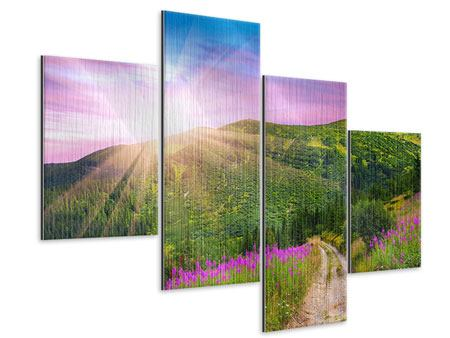 Metallic-Bild 4-teilig modern Eine Sommerlandschaft bei Sonnenaufgang