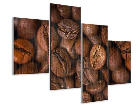 Metallic-Bild 4-teilig modern Close Up Kaffeebohnen