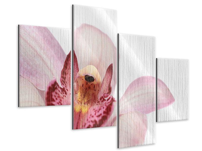 Metallic-Bild 4-teilig modern Orchideenblüte XXL