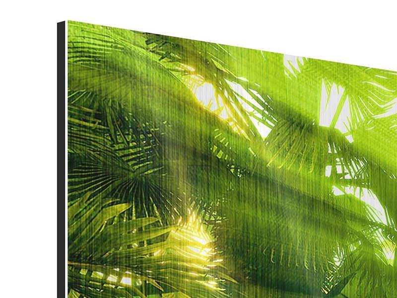 Metallic-Bild 4-teilig modern Sonnenaufgang im Regenwald