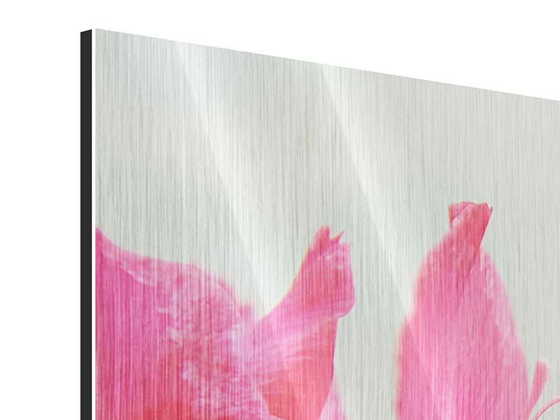 Metallic-Bild 4-teilig modern Gladiolen