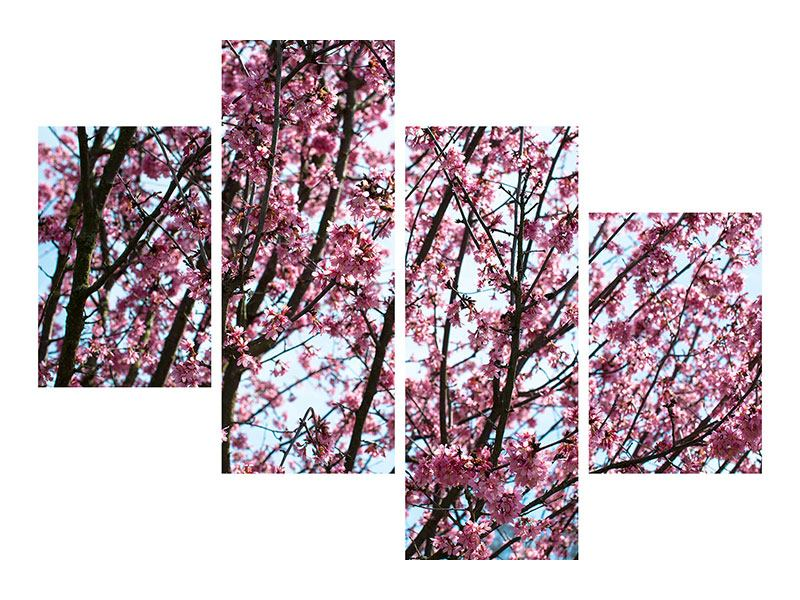 Metallic-Bild 4-teilig modern Japanische Blütenkirsche