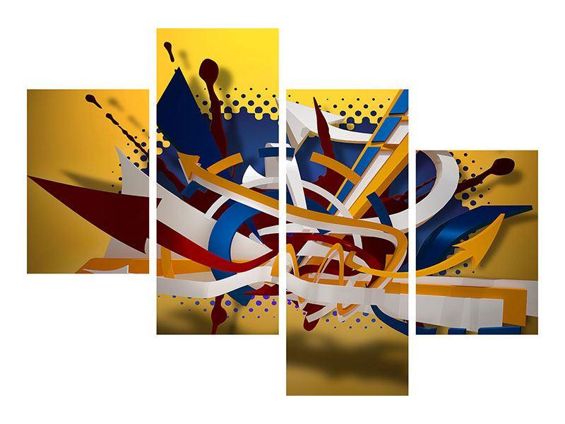 Metallic-Bild 4-teilig modern Graffiti Art