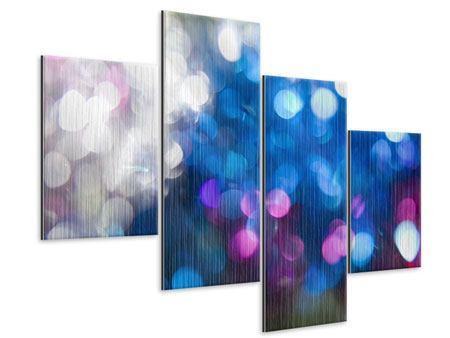Metallic-Bild 4-teilig modern Abstraktes Licht