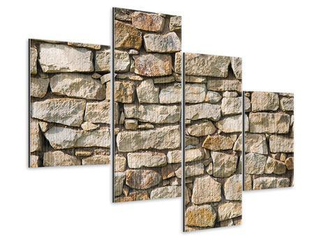 Metallic-Bild 4-teilig modern Natursteine