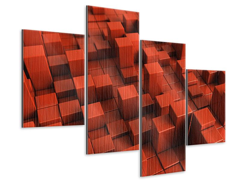 Metallic-Bild 4-teilig modern 3D-Rechtkant