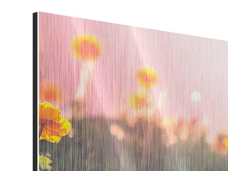 Metallic-Bild 4-teilig modern Die Bergwiese