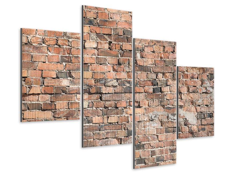 Metallic-Bild 4-teilig modern Alte Backsteinmauer