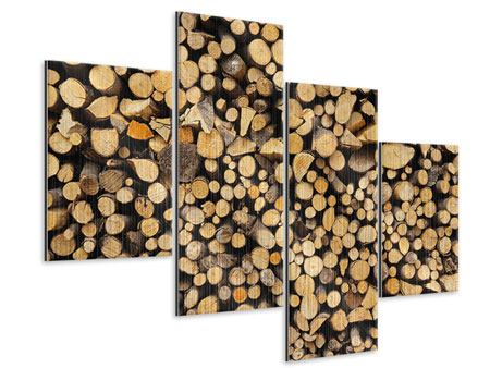 Metallic-Bild 4-teilig modern Brennholz
