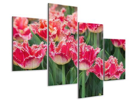 Metallic-Bild 4-teilig modern Die Tulpenwiese