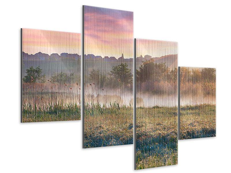 Metallic-Bild 4-teilig modern Sonnenuntergang am Hügel