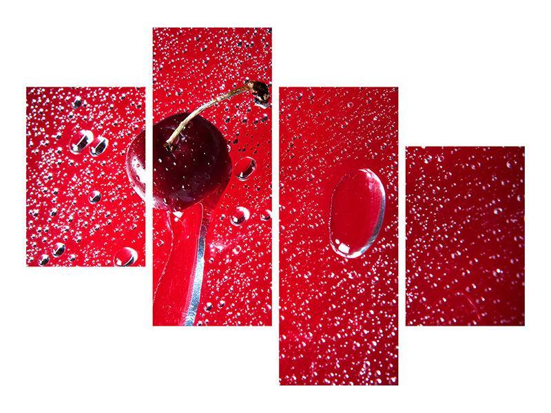 Metallic-Bild 4-teilig modern Die Kirsche